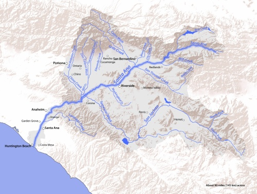 Map of the Santa Ana River drainage basin