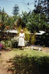 Virginia C. Creely in her garden, Newport Beach, CA 1990