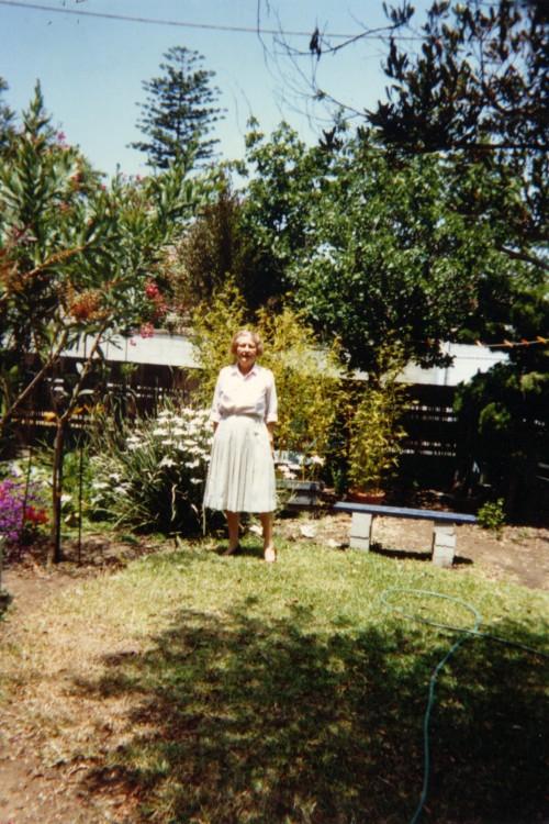 Virginia C. Creely in the upper garden, Newport Beach, CA 1990