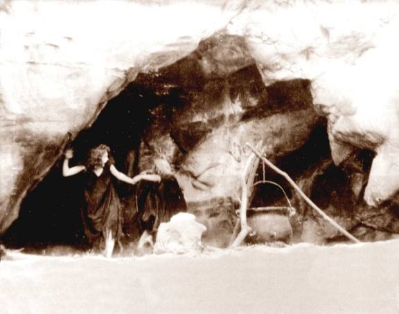 "A still from DW Griffith's silent film 'Macbeth"", which was filmed on location at Pirate Cove.  Photo from ""Corona Del Mar - My Kind of Town"", written by Douglas Westfall."